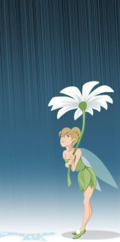 Tinker Bell in the Rain by WeaponXIX