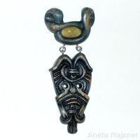 Pendan 1328 Amber and wood jewelry by AmberSculpture