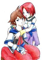 Commission: Sora and Kairi by Cklaighe