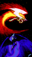 Nightmare moon vs Solar Flare by xXMarkingXx