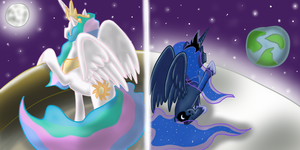 Celestia and Luna by MMarceline