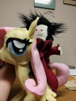 Alucard atop of Fluttershy by Peace-Dove