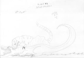 Spinosaurus Vs T-Rex 3 by Marcella-Youko