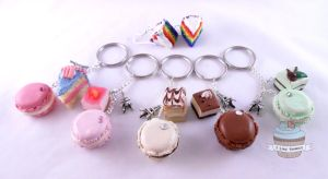 Custom order- keyrings and earrings by ilikeshiniesfakery