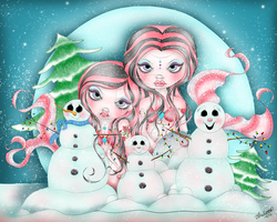 Let It Snow - Mermaid Fantasy Painting by concettasdesigns