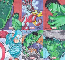Marvel Universe 2011 sketch card set Avengers guys by JoeOiii