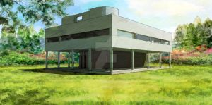 Villa Savoye (Digital Watercolor) by ryoarrendio