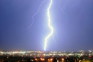 Lightning Over City by CremPhotography