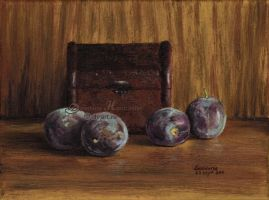Four plums by dh6art