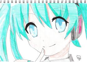 Miku Hatsune(coloured) by kawaii-kura-blossom