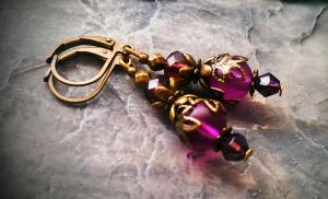 Lilac Purple Frosted Glass earrings by DesignsByCheree
