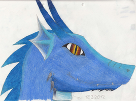Dragon Head: blue: colored !!For Adoption!! by Leopardenschweif