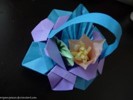 Origami flower basket by OrigamiPieces