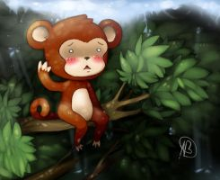 Monkey in the tree tops by Angelainva