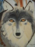 Wolf Oil Painting by Senshisoldier