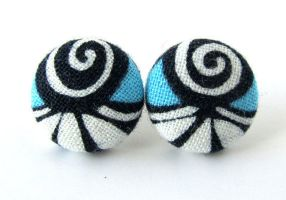 Button earrings studs blue white black swirls by KooKooCraft