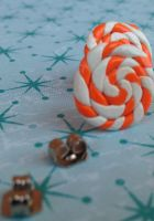 Orange Mint Candy Swirl Post Earrings by Gynecology