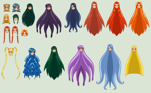SSMU Mermaid Melody Hair Template by RandomYori
