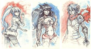 Sketches of characters by Enijoi