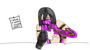 Mileena cleaning some boots.. by PrincessBejita