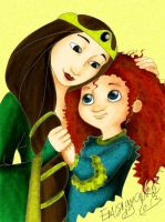 Merida and Queen Elinor colored by emisnowake