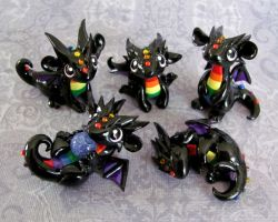 More Baby Rainbow Dragons by DragonsAndBeasties
