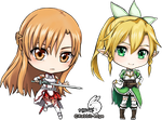 SAO Keychain: Asuna and Leafa by Rabbit-Edge