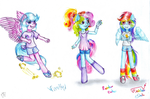 All generations of Rainbow Dash by lillyflover