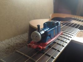 Thomas the Tank Engine on the bridge(of my Guitar) by WolfGang-Jake