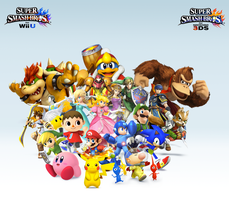 Super Smash Bros. Wii U/3DS Group WallpaperV6 by CrossoverGamer