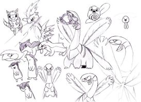 Pokemon sketches by Scarefoo