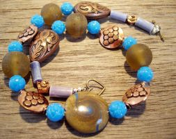 polymer clay and copper choker by merpagigglesnort