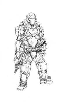 Dinner Table Sketch : Futuristic Soldier by scruffyronin