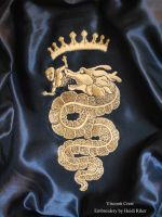 Hand Embroidery - House of Visconti Family Crest by RikerCreatures