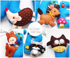 Woodland Animals for Oliver - close up by bibiluv
