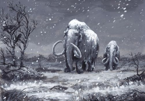 Mammoths and First Snow by jjnaas
