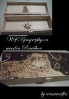 Wooden Pencilbox with Wolf Pyrography by weisewoelfin