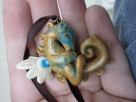 baby golden dragon pendant by carmendee