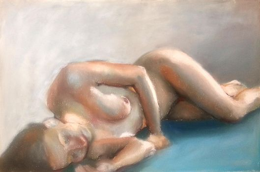 female nude blue by Blacleria