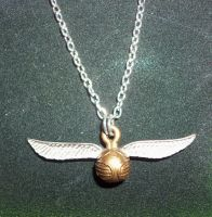 The Golden Snitch Necklace by TashaAkaTachi