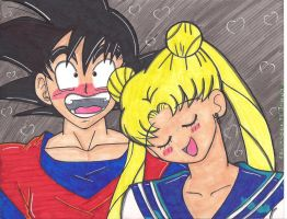 goku and sailor moon by SONICJENNY