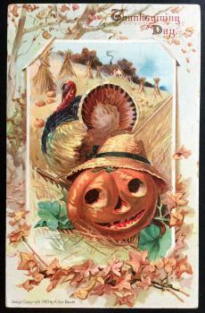 Harvest Time Holiday Postcard - 1911 by KarRedRoses
