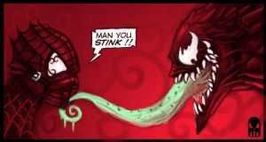 Spidey and Venom by MAROK-ART
