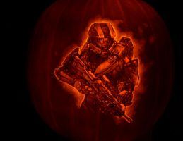Halo 4 pumpkin 2012 by qw3323