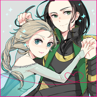 Elsa and Loki by emusuke