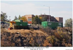 BN Caboose and Boxcar by hunter1828
