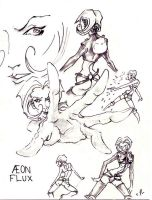 Aeon Flux character study by satat