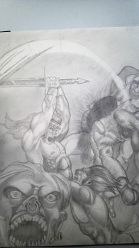 Conan vs the 'sub men' by Tommy-Da-FAM