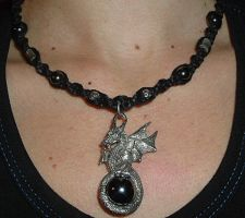 Hematite Dragon Necklace by Psy-Sub