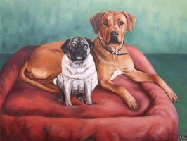 Pug and Ridgeback by ArtsandDogs